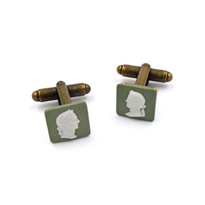 "Authentic Wedgwood :ブロンズジャスパーウェアCufflinks "" Caesar in profile """