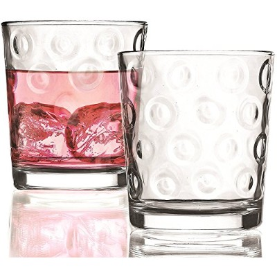 Circleware Circles Double Old Fashioned Whiskey Juice Drinking Glasses, Set of 4, 380ml