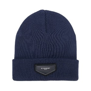 Givenchy logo patch beanie - ブルー