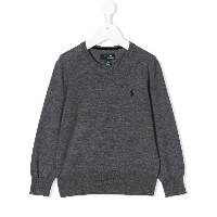 Ralph Lauren Kids logo embroidered jumper - グレー