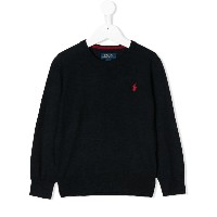 Ralph Lauren Kids logo embroidered jumper - ブルー