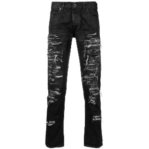 Diesel Black Gold destroyed slim-fit jeans - ブラック