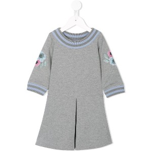 Emporio Armani Kids floral embroidered sleeve dress - グレー