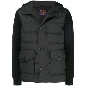 Woolrich knitted sleeve padded coat - ブラック