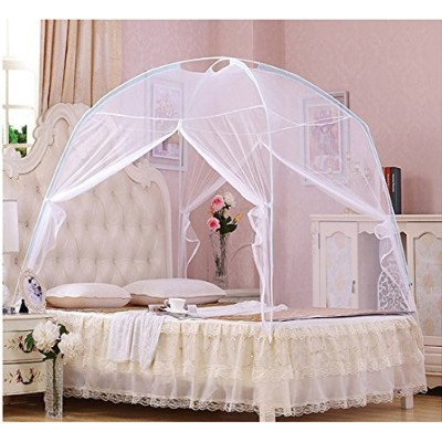 CdyBox Foldable Baby Adult Double Zipper Door Sleeping Yurt Mosquito Net Bed Canopy with Stand (M,...