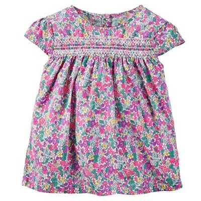 Carter 's Little Girls ' Printed Smocked Woven Top