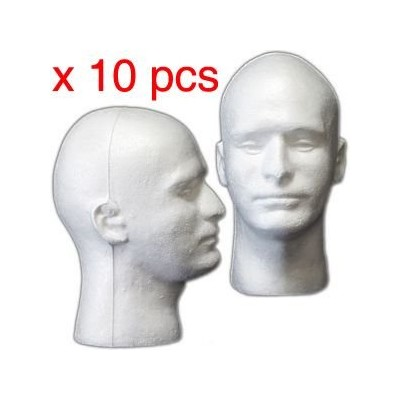 10 PIECES Male Styrofoam Mannequin Head Display by DisplayImporter