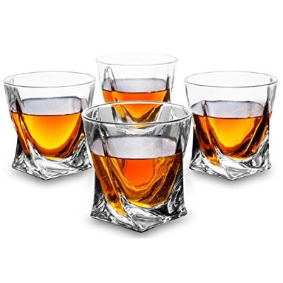 KANARS Twist Whiskey Glasses 300ml set of 4, 100% Lead Free Crystal Clear Sturdy Whisky Glass...