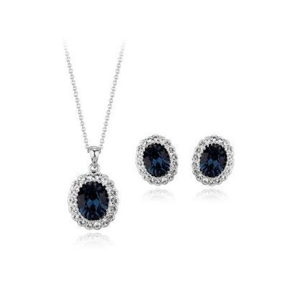 (Silver) - Sapphire Made with Elements Crystal Fashion Jewellery