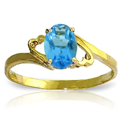 K14 Yellow, White, Rose Gold Oval-shaped Blue Topaz Ring