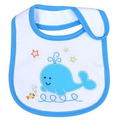 Lovely Whale Pattern Baby Cotton Drool Bibs with Magic Stick for Babies and Toddlers (#2) by...