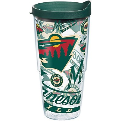 Tervis 1272235NHL Minnesota Wild All Over Tumbler withラップとハンターグリーン蓋24oz、クリア