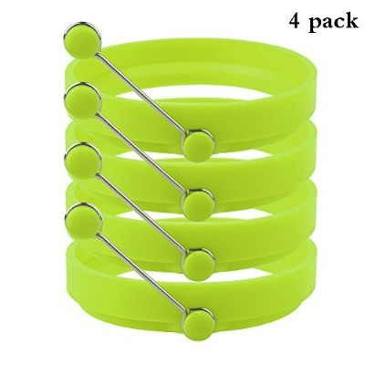 (Green) - Robot Bee 4 Pack Non-stick Silicone Egg Ring, Kitchen Cooking Round Egg Pancake Rings...