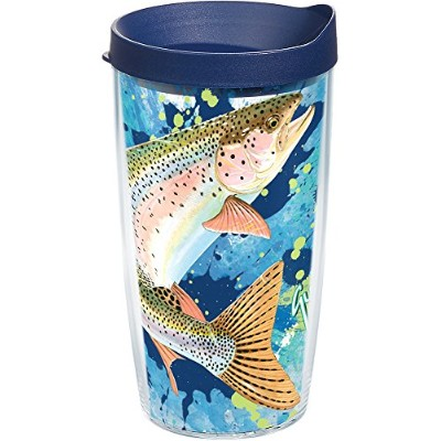 Tervis TroutラップBottle withネイビー蓋、473ml、Guy Harvey