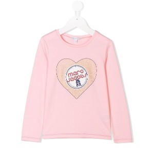 Little Marc Jacobs Miss Marc heart record print T-shirt - ピンク&パープル