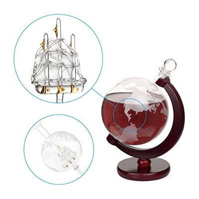 dBass Tabletop Liquor Decanter 1000ml Decorative Etched World Globe Glass Fiberboard Stand with...