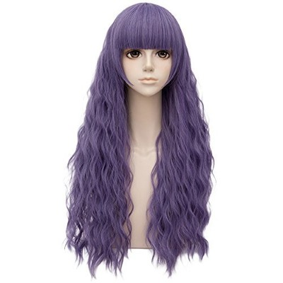 (Ash Purple) - Ash Purple Long 70cm Curly With Bangs Heat Resistant Cosplay Wig Fashion Lolita...