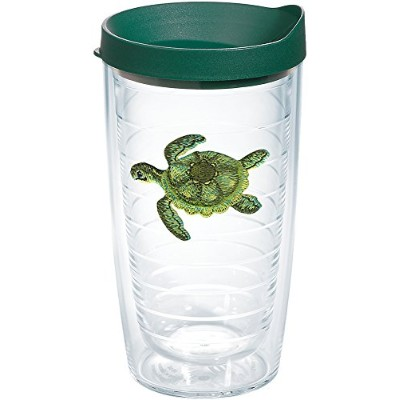 Tervis 1254380Green Turtle Tumbler with Emblem andハンターグリーン蓋16オンス、クリア