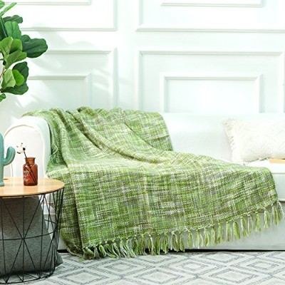 (Light Green) - NordECO Throw Blanket Plaid Soft Cosy Microfiber 100% Arylic Blanket for Bed/Chair...
