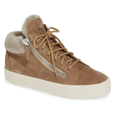 ジュゼッペザノッティ レディース スニーカー シューズ Giuseppe May London Mid-Rise Lace-Up Genuine Shearling Sneaker Caramel