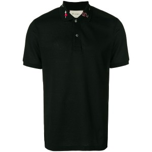 Gucci embroidered piqué polo shirt - ブラック