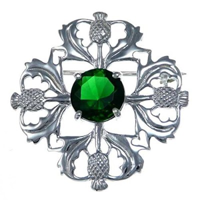 Sterling Silver Green Stone Thistle Brooch - Scottish Pin