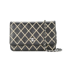 Chanel Vintage quilted chain wallet - ブラック