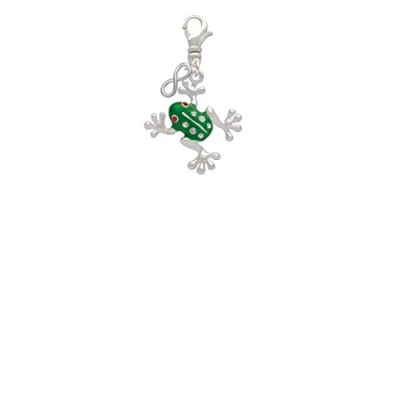 Green Frog with Crystals Mini infinityクリップonチャーム
