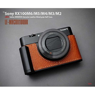 【日本正規販売店】LIM'S Italian MINERVA Genuine Leather Metal grip Half Case for SONY RX100M6/M5/M4/M3/M2 LE...