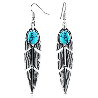 XZP Women's Earrings Bohemian Jewelry Gifts Pendant Metal Tribal Feather Tibetan Dangle Earring
