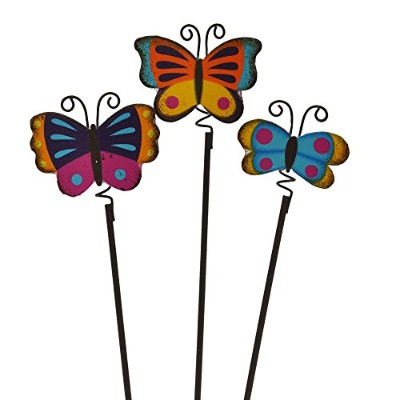 Miniature Fairy Garden Colorful Butterfly Picks, Set of 3 by Studio M