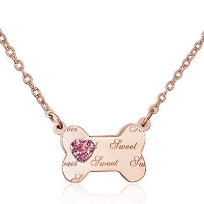"LovelyJewelry犬ボーンネックレスSweet合成クリスタルチタン鋼ペンダントネックレス18 ""用"