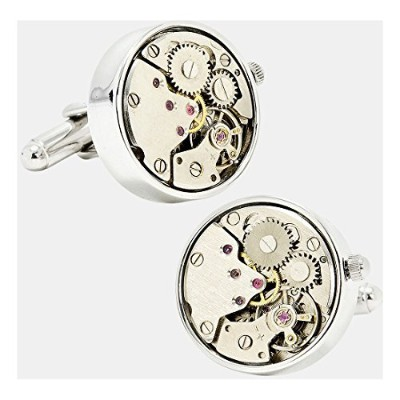 Real Working Watch Movements Cufflinks Functioningスチームパンクcuff-links withベルベットギフトボックス