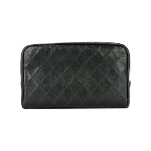Chanel Vintage cosmos line quilted CC cosmetic bag - ブラック