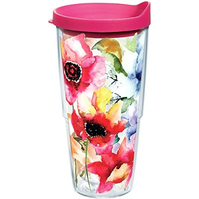 Tervis水彩Blooms Wrap Tumbler with Fuchsia蓋、24オンス、クリア