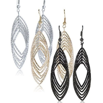 Gold and Luster Women Jewelry Drop Dangle Earrings Set Diamond Cut Silver And Gold Plated 2 Pairs