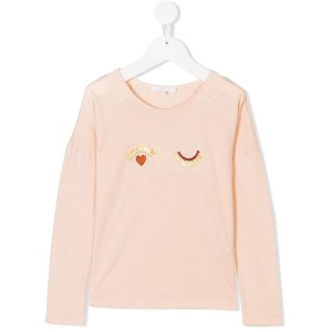 Chloé Kids eyes embroidered long sleeve top - ピンク&パープル