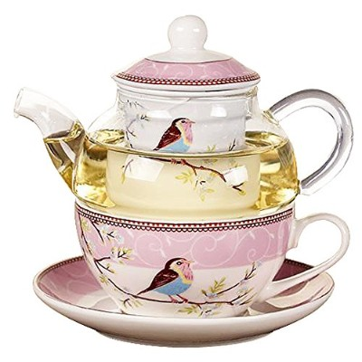 Jusalphaガラスティーポットwith a fine china Infuser Strainer、Cup and Saucer Set ,ティーポットとティーカップの1つ、Tea for...