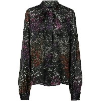 Co floral bow tie shirt - ブラック
