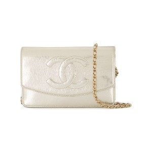 Chanel Pre-Owned ロゴチェーン クラッチバッグ - メタリック