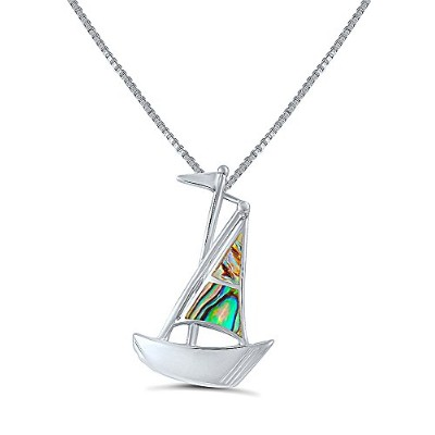 "スターリングシルバー虹色and Abalone "" Lady of the Sea "" Traditional Sailing Boat PENDENTネックレス"