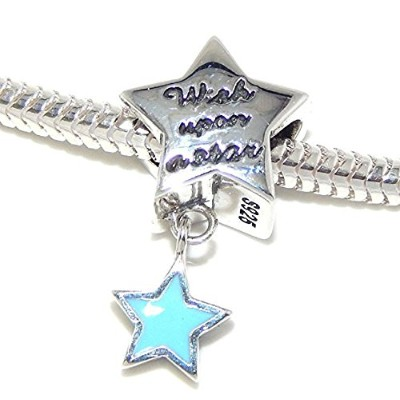Proジュエリー925Solid Sterling Silver ' Wish Upon A Star ' Star with Danglingブルースターチャームビーズ
