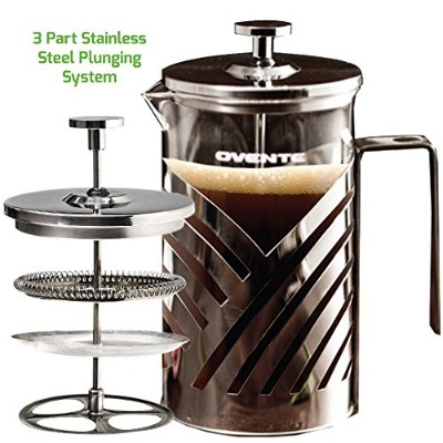 Ovente FSD27P 27oz Stainless Steel French Press Coffee Maker, Great for Brewing Cofee and Tea, 6...