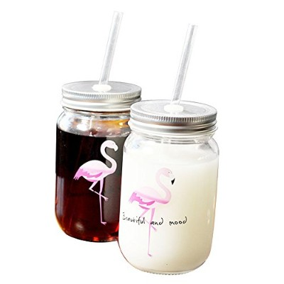 bleumoo 1pc LovelyフラミンゴMason Cup with Lid &ストローガラスDrinking Mason Jars