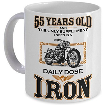 Bikerマグ – Daily DoseのIron 。 – 55th誕生日ギフトfor Motorcycle Rider Harley Inspiredバイカーギフトコーヒーカップpicksplace