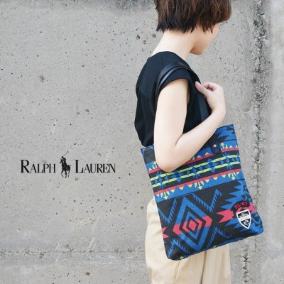 【POLO RALPH LAUREN】ポロ ラルフローレン 950167A SIGNATURE TOTE BLU MLT BRT BEACON PT(950167A)/トートバッグ バッグ...