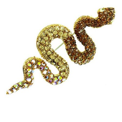Brown on Gold Plated Exotic Snake Brooch