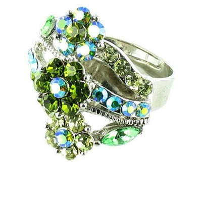 Green on Silver Plated Fancy Flower Cocktail Ring