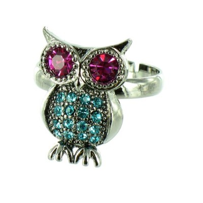 Blue and Pink on Antique Silver Owl Ring