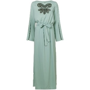 Pinko embroidered front maxi dress - ブルー